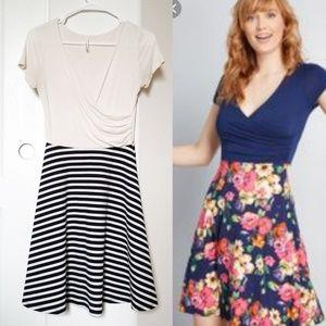 Modcloth Gilli Faux Wrap Striped Dress